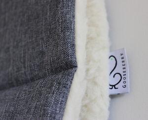 PRAM STROLLER SEAT LINER GOOSEBERRY Lambs Wool Universal Machine Washable