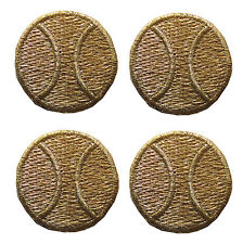 #2491G Lot 4Pcs Gold Tennis Ball Embroidery Iron On Applique Patch
