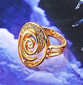 18k yellow gold filled circle CZ ring Sz9 R-A245