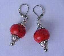 Rote 14 mm Türkis Linsen Ohrringe Ohrhänger Earrings mit Brisuren rhodiniert