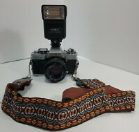 Minolta XG-M Camera, 200x flash, MD 50mm 1:2 Lense W/Strap. Nice. Read.