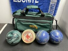4 Duckpin Bowling Balls With Bag Epco Reactive Viper  Boston Red Sox Custom Ball