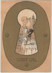Bald Man as a 'Giddy Girl' Cross-Dressing Through a Keyhole Victorian Trade Card