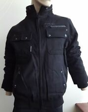 Woolen Funnel Neck Zip Military Coats & Jackets for Men