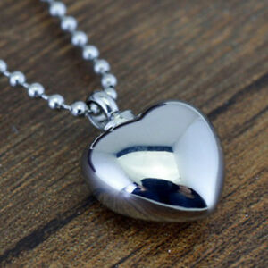 Mini Heart-shape Titanium Steel Waterproof Pill Box Case Bottle Necklace Pendant