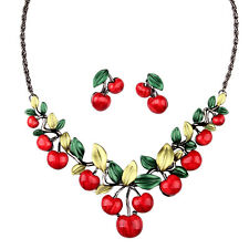 Women Cute Party Jewelry Red Cherry Crystal Diamante Necklace Earrings Set UK