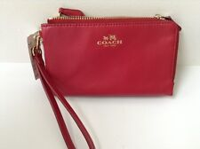 NWT Coach F64581 Classic Red Smooth Leather Double Corner Zip Wallet MSRP $85
