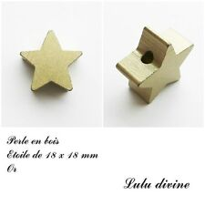 Perle en bois de 18 x 18 mm, Perle plate Etoile : Or