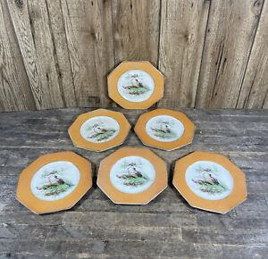 Six Antique Wedgwood Imperial Orange Octagonal Exotic Bird & Floral Plates.
