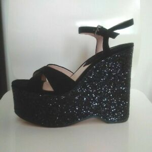 new MANGO black sparkly&real suede leather platform wedges shoes,party,heels,6UK