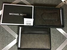 NWT Authentic MICHAEL KORS Card case with Money Clip Jet Set Mens Brown Gift Box