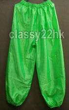ONE (1) PAIR OF 42 IN UV Green Satin Lion Dance Kung Fu Tai Chi Trousers pant