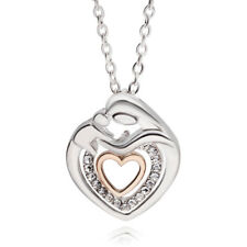 & Cz Silver Heart Love 6-11 Mother Child Son Daughter Necklace 18k Gp