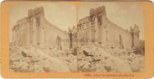 Baalbek Temple de Jupiter Liban Lebanon Stereo J. Andrieu Vintage Albumine c1870