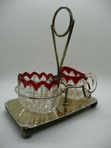 Antique Glass sugar bowl & Creamer with red crown rim on plated stand