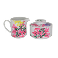 Savoir Vivre Meadow Splendor Creamer and Lidded Sugar Bowl Set YA053 Flowers