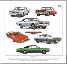 PONTIAC GTO  Fine Art Print - Six different 1960's muscle car models illustrated