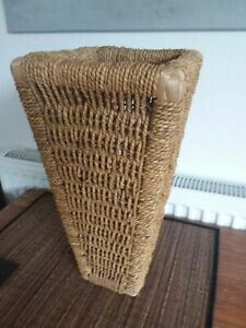 """Hand Made Natural Wicker Seagrass Rattan Wall Vase Tapered Square 15"""""""