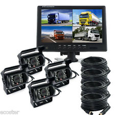 "9"" DIGITAL REAR VIEW BACKUP CAMERA SYSTEM 4 REVERSE CAMERA TRUCK FARM HARVESTER"