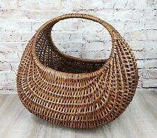 Vintage oval Wicker cane Shopping Basket egg garden picnic rustic Farmhouse home