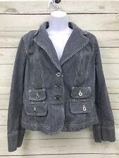 Ann Taylor Loft dk Blue Denim Striped 100% cotton long sleeve unlined jacket 14