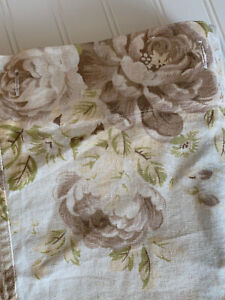 Pottery Barn Hayden Floral Roses Fabric Shower Curtain Linen Cotton 72 X 70