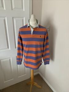 Men's Orange And Purple Polo Ralph Lauren Striped Rugby Shirt Size Large