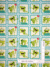 Frog Toad Water Scene Blocks Cotton Fabric HG&Co Frogland Friends - Yard
