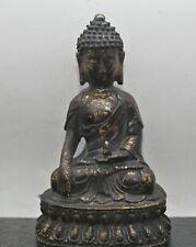 Superb Workmanship Antique Chinese Gilded Bronze Buddha Statue c1820s