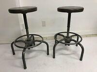 Vintage INDUSTRIAL STOOL PAIR desk chair drafting swivel bar adjustable gray set