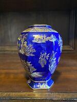 Carlton Ware Blue Royale Vase, Kang Hsi, Asian Scenes.  Stoke On Trent.