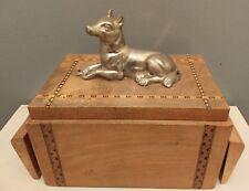 Antique Smoking Cigarette Box Wood Inlay German Shepard