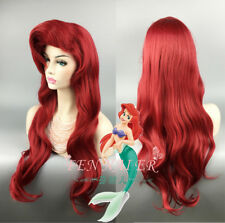 Little Mermaid Ariel Wig Dark Red 70cm Long Curly Wavy Hair Cosplay Wigs + Cap