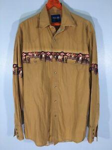 VINTAGE 80s WRANGLER WESTERN RODEO NAVAJO PEARL SNAP POCKET COWBOY SHIRT L