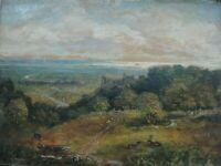ANTIQUE  LANDSCAPE OIL PAINTING WITH A DISTANT CASTLE AND BOATS IN SEA .