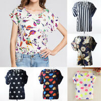 Women T Shirt Chiffon Blouse Casual Tops Short Sleeve Loose Summer Shirt