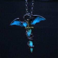 Glow in the Dark Dragon Sword Necklace Luminous Pendant Punk Men Jewelry New