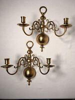 VINTAGE COLONIAL WILLIAMSBURG STYLE BRASS BALL WALL SCONCES CANDLE HOLDERS PAIR