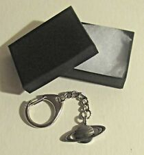 F) KEY-RING PEWTER SATURN SIXTH PLANET FROM THE SUN RINGS SOLAR SYSTEM SPACE