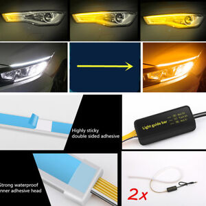 "2x 23.6"" Car White+Amber DRL LED Driving Light + Flowing Turn Signal Light 12V"