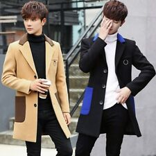 Men's Woolen Blend Slim Fit Buttons Blazers Coats Casual Outwear Overcoat Jacket