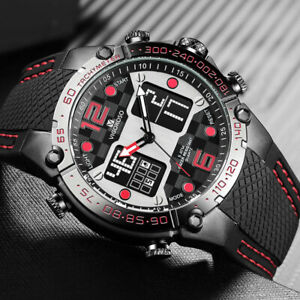 Mens Digital Analogue Wrist Watch Chronograph LED Sports Military Quartz Fashion