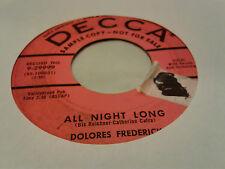 Dolores Frederick 45 All Night Long/Get a Transfer Decca Promo Teen Rocker