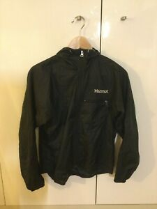 Marmot Lightweight black running waterproof jacket size XS with zipped pocket