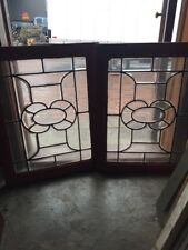 Sg 1521 Matched Pair Antique All Beveled Glass Transom Windows 23 X 28.5