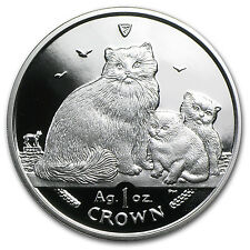 2007 Isle of Man 1 Crown Proof Silver Ragdoll Cats Coin - Sku #80897