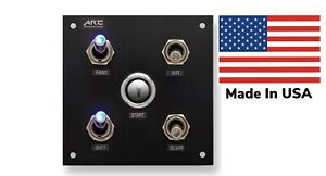 Switch Panel 4 Toggle, push button, Blue LED, 12V, Square, W/Labels. USA Made.
