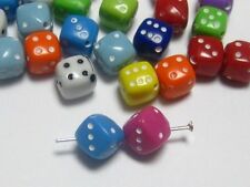 100 Mixed Colour Acrylic Cube Dice Beads 8X8mm Dice-Drilled