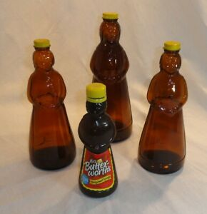 Mrs. Butterworth's Amber Glass Bottle Metal Lid, Plastic with Label Butterworth