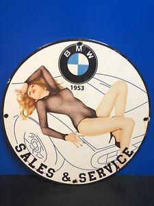 VINTAGE PORCELAIN BMW AUTO SALES AND SERVICE SIGN